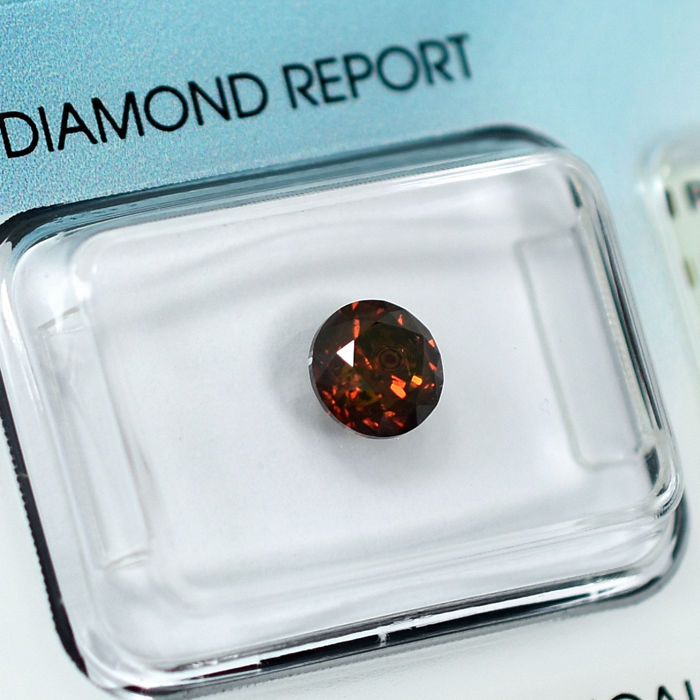 Diamante - 0.95 ct - Brillante - Fancy Intense Reddish Orange - I1