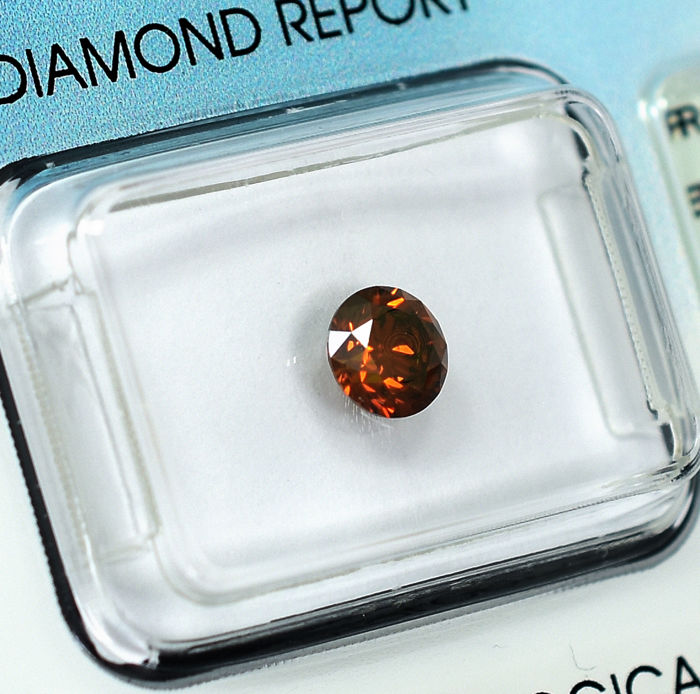 Diamond - 0.61 ct - 明亮型 - Fancy Intense Orange (treated) - Si1 - NO RESERVE PRICE