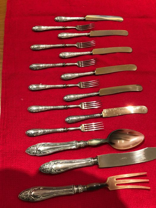 Cutlery set (15) - .800 silver - Italy - Late 20th century