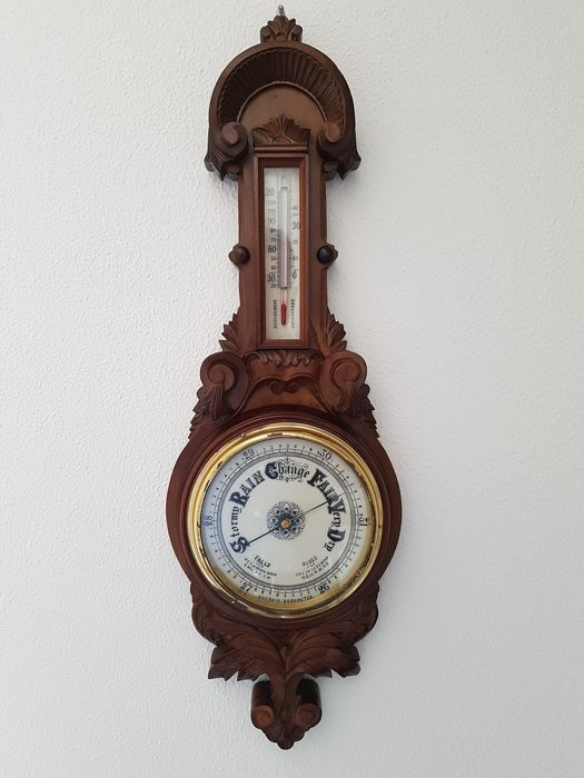 Mooie forse Aneroid Barometer - Glas, Hout, Messing