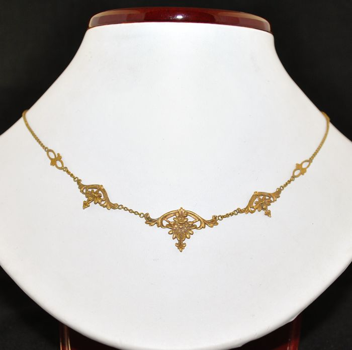 Authentic Antique Art Nouveau - 18 kt. Yellow gold - Necklace