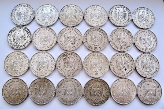 Duitsland Derde Rijk - 5  Mark 1934/1936 - 24 coins - Hindenburg & Church - Zilver