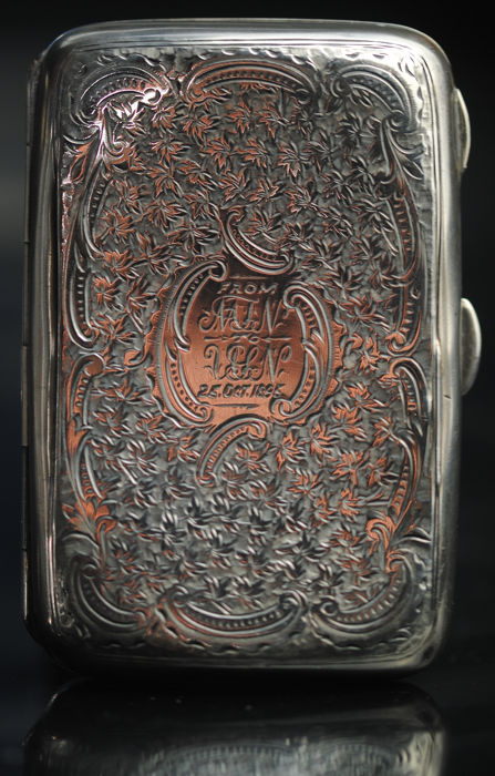 Ornately Engraved Victorian Cigarette Case - Silver - Thomas Hayes of Birmingham - England - 1894