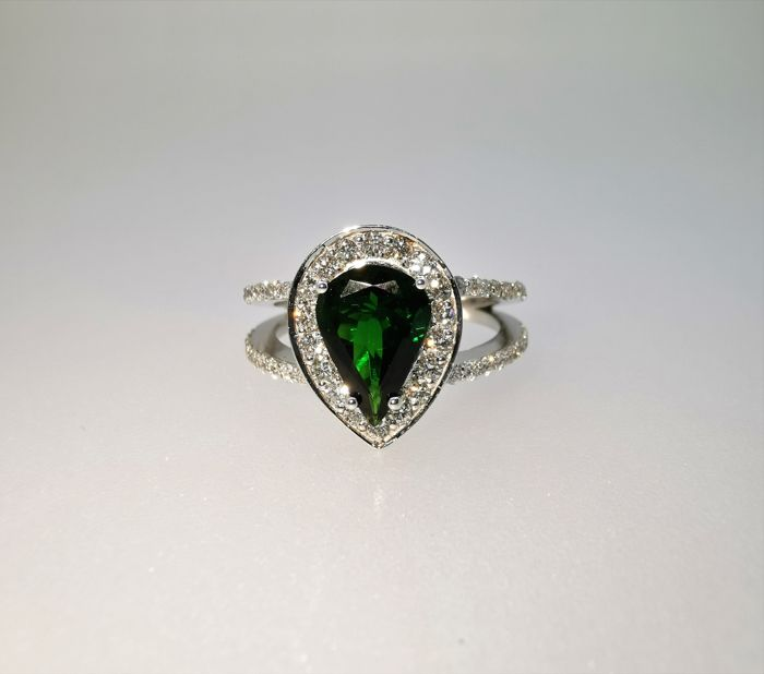 18 karaat Witgoud - Ring - 2.18 ct Tsavorite - Diamant