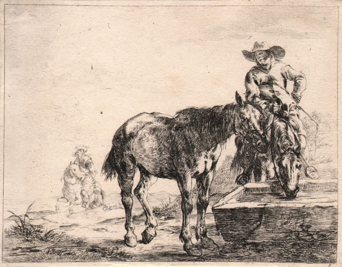 Dirk Stoop (1610 - c.1686) - Horses drinking from a trough