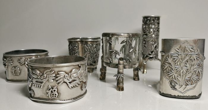 Rare Collection of Chinese Tableware Silver (6) - Silver - China - Late 19th century