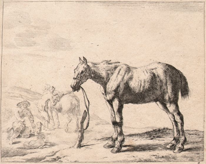Dirk Stoop (1610 - c.1686) - A bridled horse bound to a post