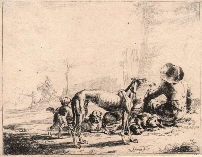 Dirk Stoop (1610 - c.1686) - Greyhound with sitting man and other dogs