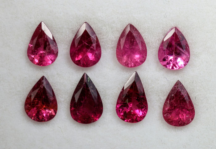 8 pcs  Turmalin Rubellit - 5.35 ct