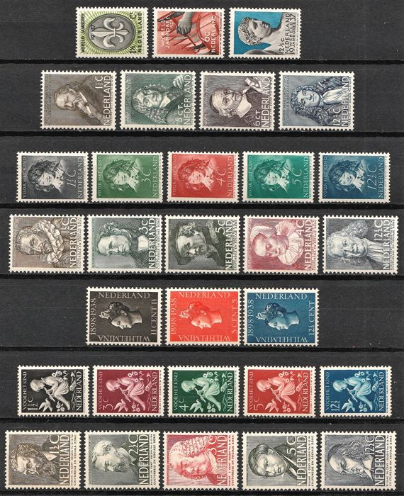 Pays-Bas 1937/1940 - Selection 13 complete sets - NVPH 293/345, 350/355 en 374/378