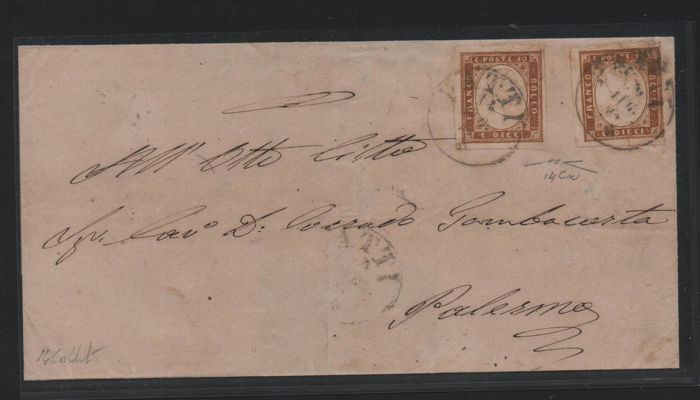 Sardinië 1861 - 10 c. reddish brown, two values on letter from Patti to Palermo - Sassone N. 14Cn