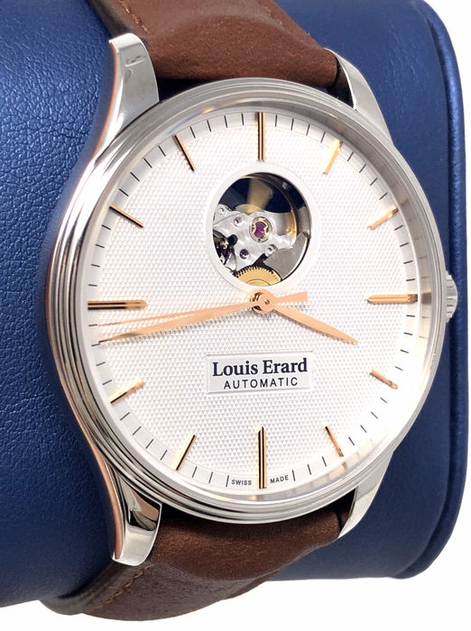 Louis Erard - Automatic Héritage Collection White Dial Brown Leather Strap Swiss Made - 60287AA51.BVA01 - Heren - 2011-heden