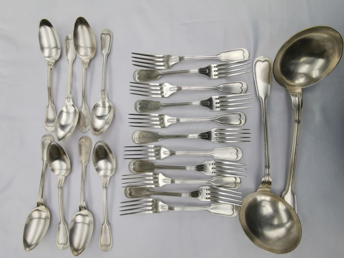 8 large spoons 11 forks and 2 ladles (21) - silver 84 and 91 grams - Ercuis - France - 1950-1999