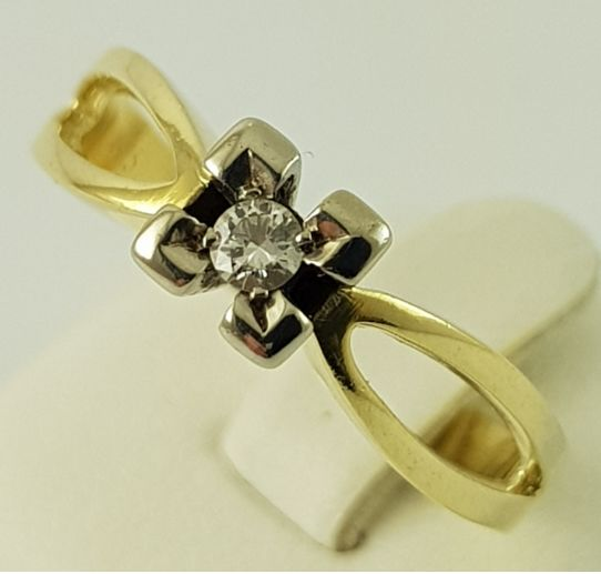 14 kt. Yellow gold - Ring - 0.07 ct Diamond