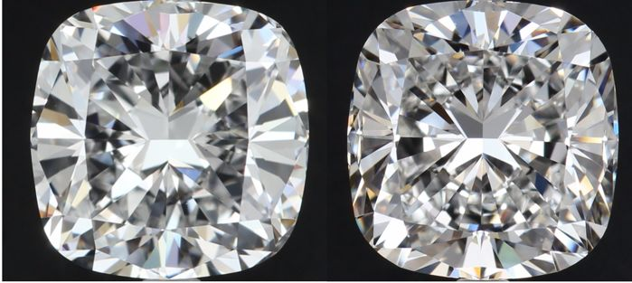 2 pcs Diamanten - 1.80 ct - Cushion - G, H - VS2