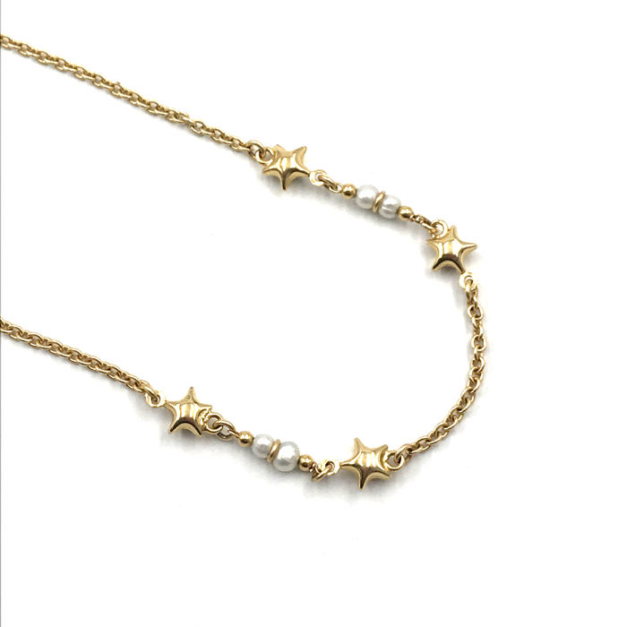 18 kt. Yellow gold - Necklace Pearls grown in salt water,