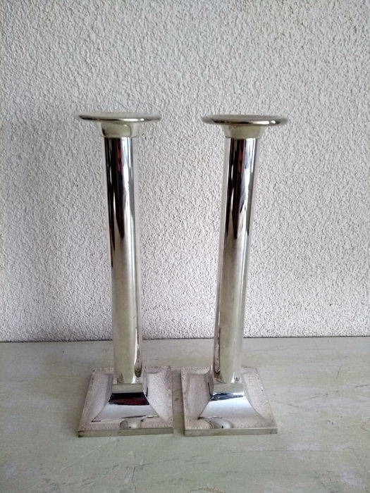 Two beautiful big tight candlesticks - Silver plated - Netherlands - 1930-1950