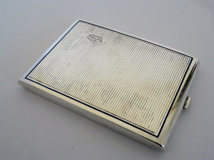 Large size, heavy Art Deco silver cigarette box with enamel inlay