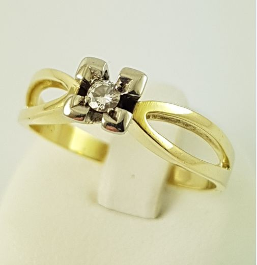 14 karaat Geel goud - Diamond Ring-558 goud-1 diamant, 0,07 CT - 0.07 ct Diamant