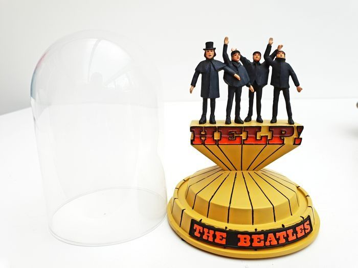 """Franklin Mint - Limited Edition The Beatles """"HELP"""" Music Bell Jar - Tesori Porcelain, Clear Glass, Music Works perfectly, Unique serial code"""