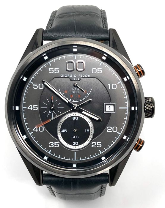 "Giorgio Fedon 1919 - Chronograph Vintage VII Black PVD Grey Leather Strap  - ""NO RESERVE PRICE"" GFBL003 - Men - Brand New"