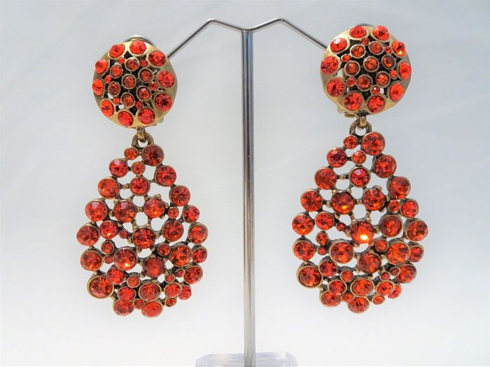 Oscar De La Renta - Gold Orange Crystal Clip Oorbellen