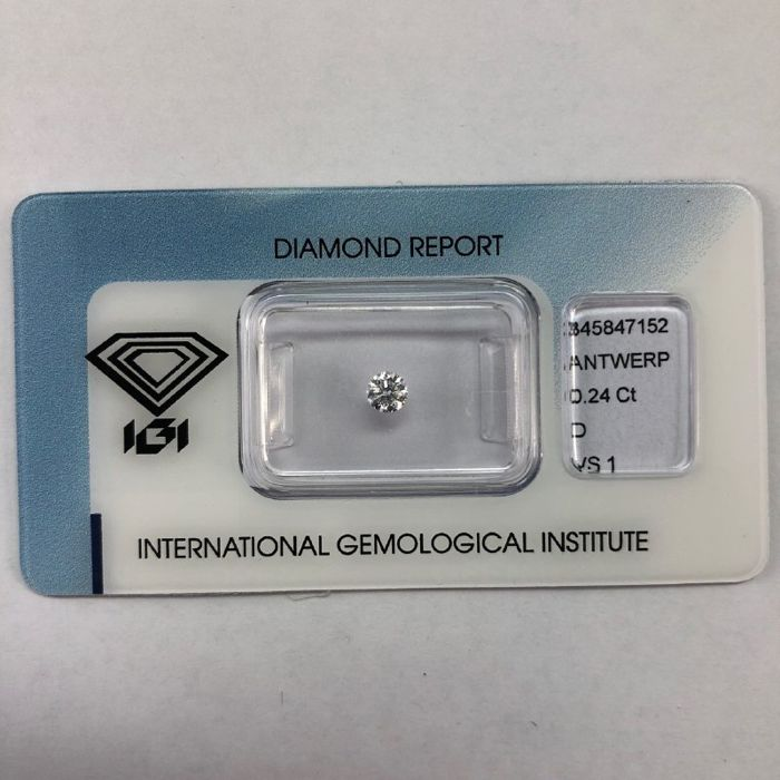 1 pcs Diamond - 0.24 ct - Brilliant - D (colourless) - VS1