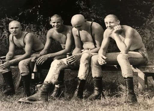 Shirley Baker (1932-2014) - Four skinheads on a bench in Wilmslow park, 1983