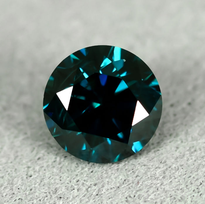 鑽石 - 0.50 ct - 明亮型 - Fancy Deep Blue - Si2 - NO RESERVE PRICE - EXC/VG/G