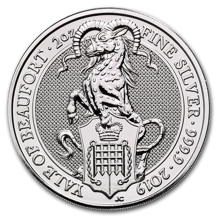 United Kingdom - 5 Pound 2019 Queens Beast - The Yale of Beaufort 2 oz - Silver Coins for sale