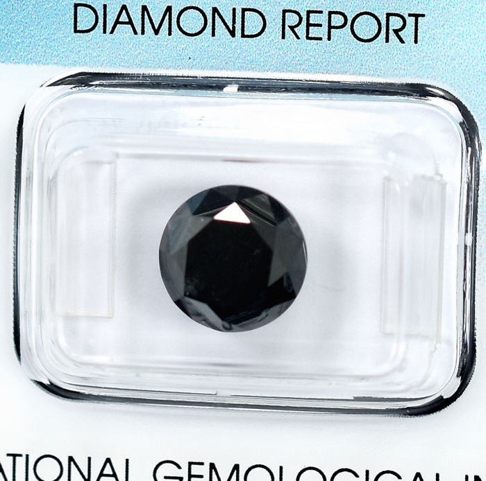 Diamant - 4.28 ct - Brillant - Black - N/A