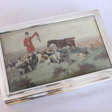 Victorian sterling silver cigar box with hunting print - .925 silver - 1899, London