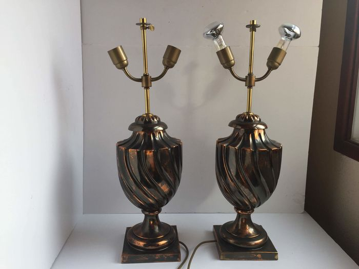A pair of table lamps - Copper Curio Curio for sale
