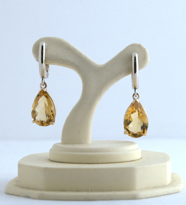 14 kt. White gold, Yellow gold - Earrings - 5.80 ct Citrine