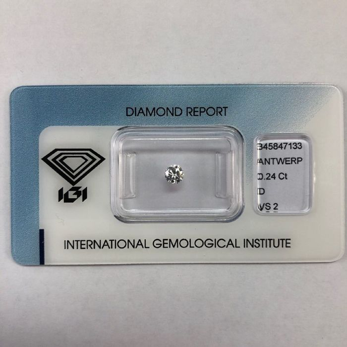 1 pcs Diamante - 0.24 ct - Brillante - D (incolore) - VS2, NO RESERVE