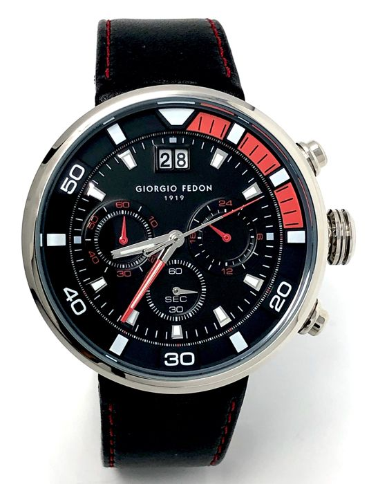 Giorgio Fedon 1919 - Chronograph Speed Timer V Black and Red leather strap  - GFBQ002 - Homem - Brand New