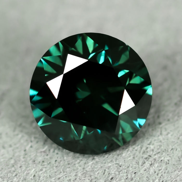 Diamond - 0.80 ct - Briliáns - Fancy Deep Bluish Green - Si1 - NO RESERVE PRICE