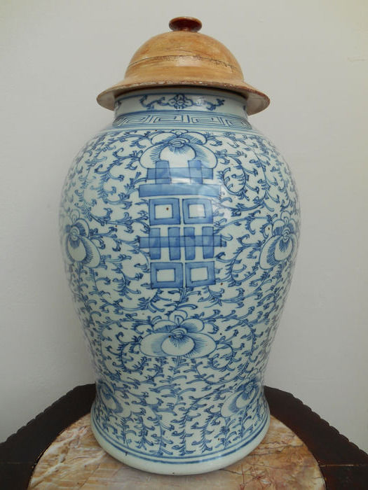 Large jar and cover - Porselein - China - Begin 20e eeuw