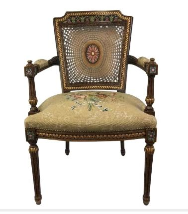 Armchair with webbing handrail - painted medallion - Hout - Tweede helft 19e eeuw