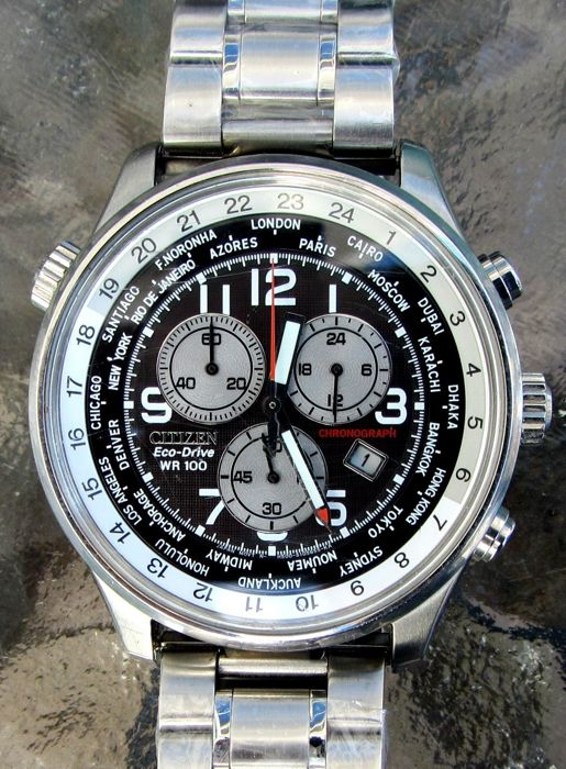 Citizen - Eco Drive World Time Chronograph pilot 2 straps - AT0361-57E cal. H500 - Men - 2011-present