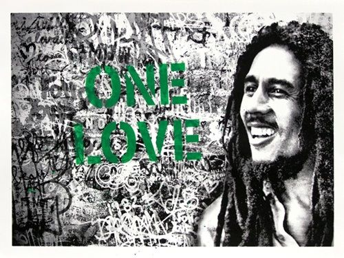 Mr Brainwash (MBW) - Happy Birthday Bob Marley - One Love (Green)