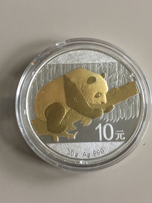 "China - 10 Yuan 2016 - ""Panda"" mit Goldapplikation - 30g - Zilver"