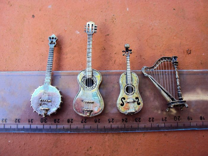 collection of silver musical instruments (4) - .800 silver