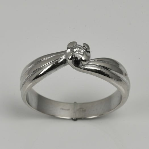 18 karaat Witgoud - Ring - 0.10 ct Diamant