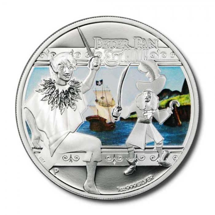 """Tuvalu - 1 Dollar 2011 Heroes and Villains - """"Peter Pan and Hook"""" - 1 Oz - Zilver"""
