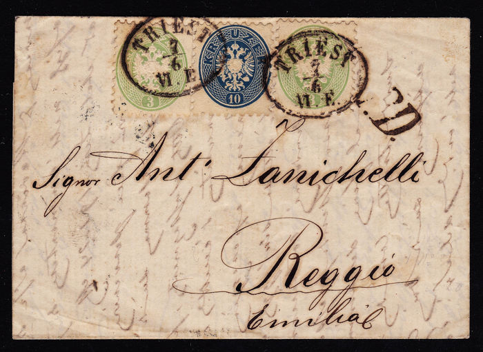 Austria 1865 - Folded letter with combination franking, 2 x 3+10 kr 1865, from Trieste to Reggio