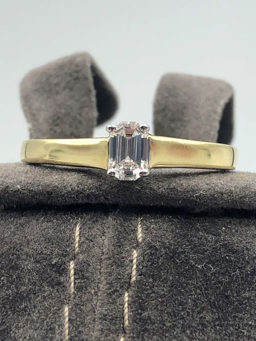 18 karaat Geel en wit goud - Ring - 0.27 ct Diamant