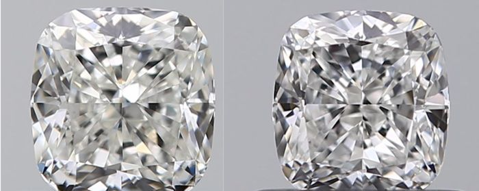 2 pcs Diamanten - 1.02 ct - Cushion - G - IF (intern zuiver), LC (loepzuiver), VVS1