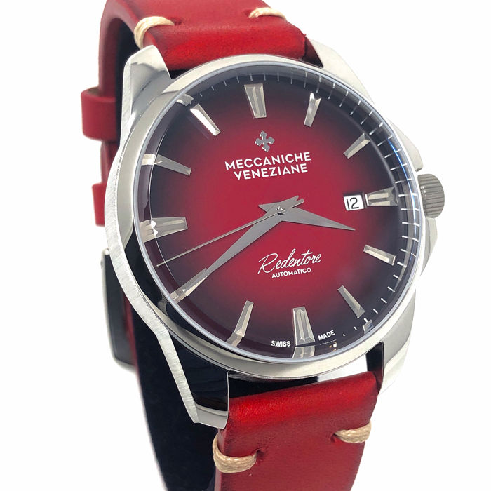 Meccaniche Veneziane - Automatic Redentore Rubino Red EXTRA Steel Mesh Band - 1201003 - Heren - BRAND NEW
