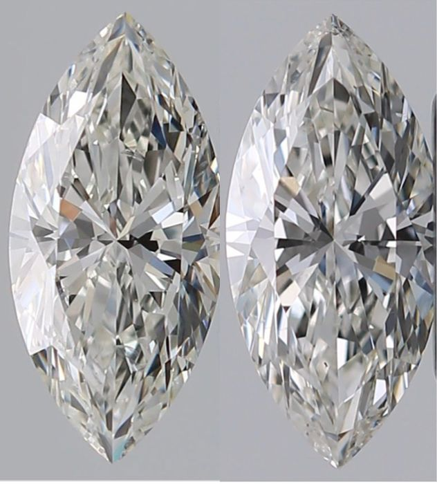 2 pcs Diamants - 1.04 ct - Marquise - H, I - SI1, SI2